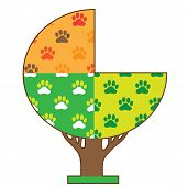 A tree showing the four seasons with dog paws in each section poster