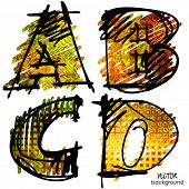 art sketching set of colorful alphabet, vector background 1