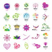 Collection of vector design icons for beauty salons poster