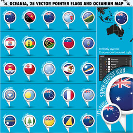 Australian, Oceania Round Pointer Flag and map