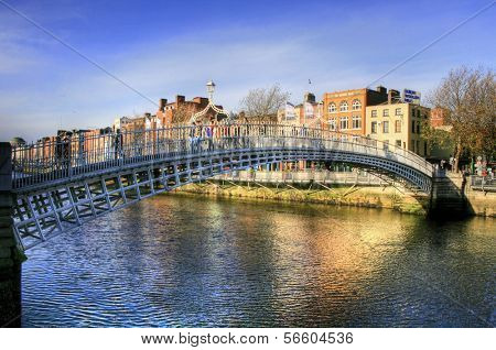 The Half Penny Bridge (also known as Ha'(lf) Penny Bridge) in Dublin, Ireland