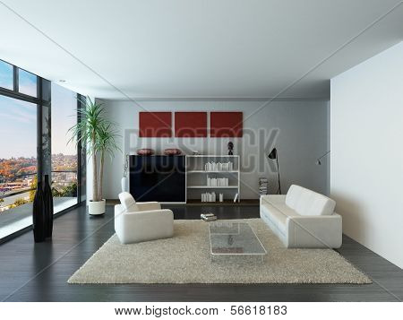 Modern loft interior with trendy living room furniture