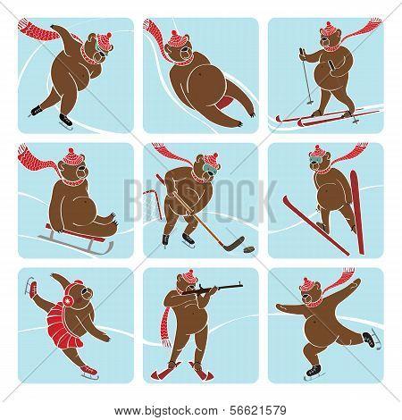 Set Of Brown Bear Plays Winter Sport. Humorous Illustration.
