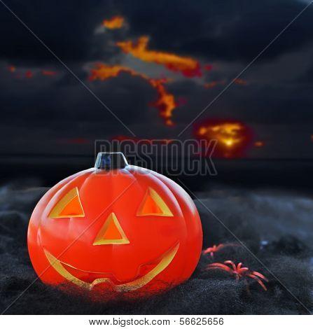 Pumpkin Under A Dramatic Sky