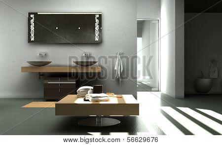 Modern Bathroom Interior with Concrete Walls