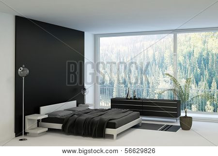 Ultramodern bedroom interior with double bed against panorama windows
