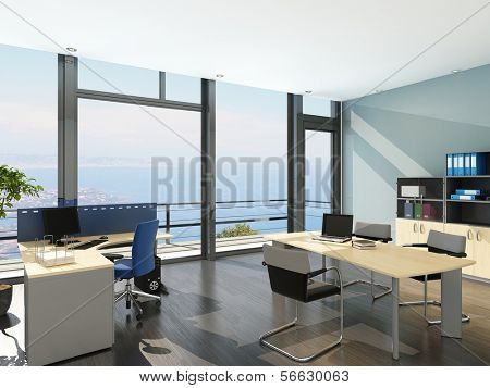 Modern office interior with spledid seascape view