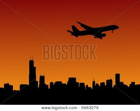 Plane Arriving In Chicago
