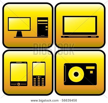 computer, tv, photo and smartphone icons
