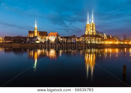 Cathedral Island In The Evening Wroclaw, Poland