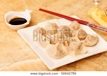 Jiaozi - Chinese dumplings filled with pork and spring onions.