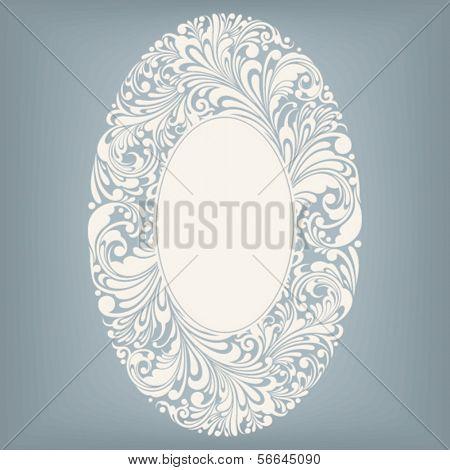 floral ornament design element in oval form, vector illustration