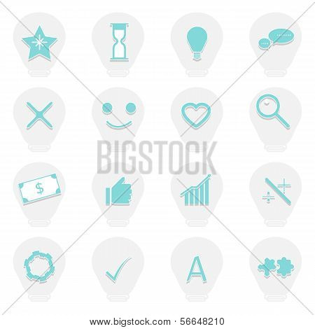 Idea Symbol In Light Bulb Icons With Shadow