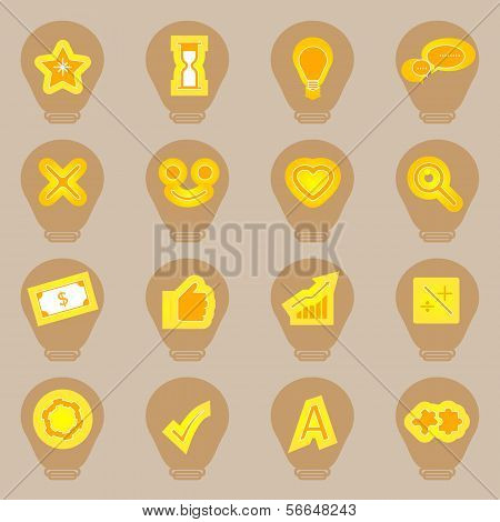 Idea Symbol Icons Sticker On Light Bulb Shape