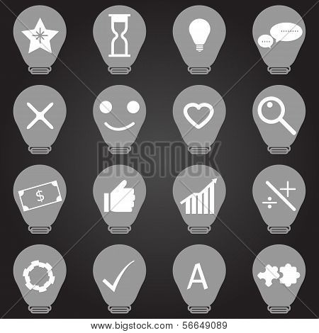 Idea Symbol In Light Bulb Shape Icons