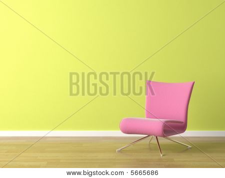 Pink Chair On Green Wall
