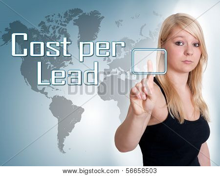 Young woman press digital Cost per Lead button on interface in front of her poster