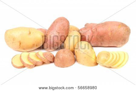 Different potatoes and splited tuber.