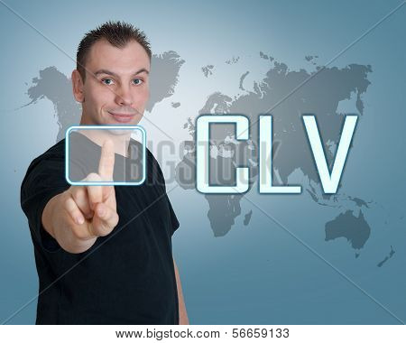 Young man press digital Customer Lifetime Value button on interface in front of him poster