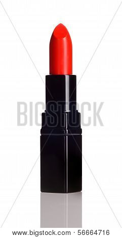 Red Lipstick On White Background.