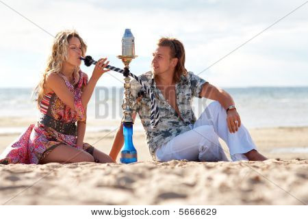 Couple Smoking Hookah