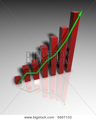 Reflective Stockmarket Graphic With Red Bars And Green Arrow