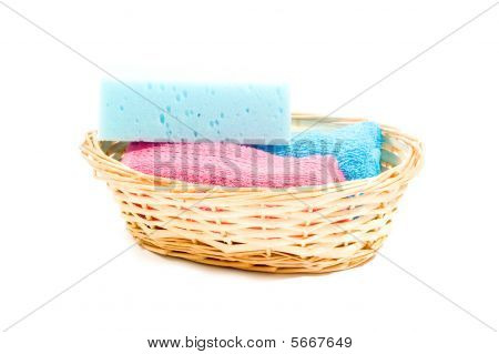 Basket With Colorfull Towels And Sponge