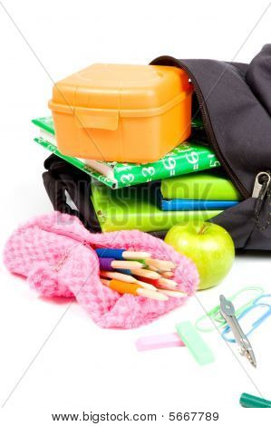Back To School Supplies Studio Isolated On White Background