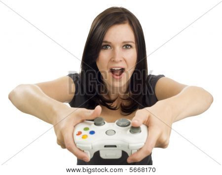 Excited Girl Holding Video Game Controller