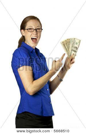 Pretty Woman With Money Fan