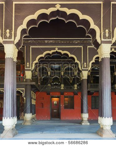 Reception Hall At Tipu Sultan Palace In Bangalore.