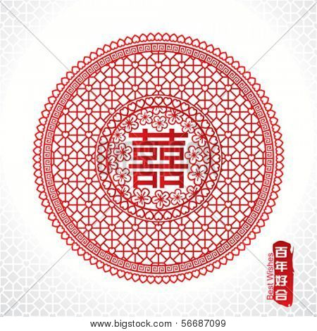 Traditional Chinese marriage symbol of double happiness.