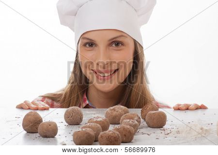 dough balls and woman chef cook poster