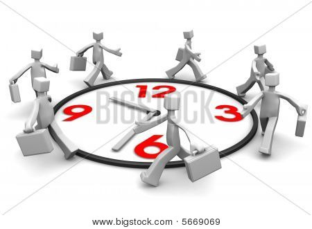 Group Of Businessman Run And Beat For Time.
