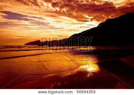 Dramatic Tropical Sunset in the Beach