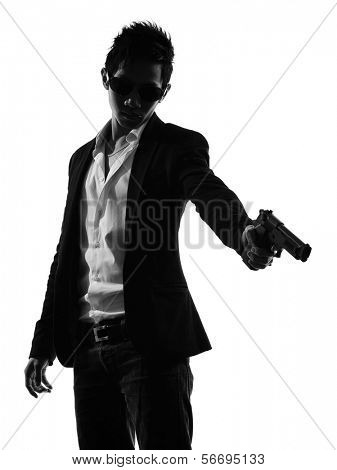 one asian gunman killer portrait  shooting in silhouette isolated white background poster