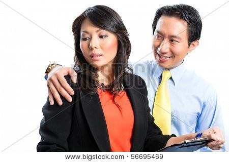 Asian Chinese Employee or secretary getting manager or business man sexual harassed or harassment and reject him