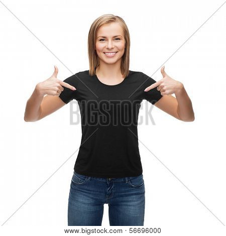 t-shirt design, happy people concept - smiling woman in blank black t-shirt pointing her fingers at herself