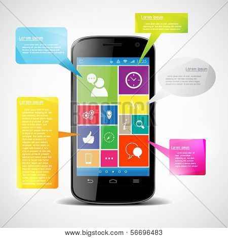 Touchscreen smartphone with colorful icons. Infographic.