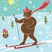 One brown bear riding a skiing on the nature. Winter landscape. Humorous illustration. poster
