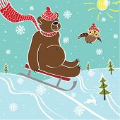 One brown bear sledding with mountain nature. Humorous illustration poster