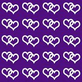 White Interwoven Hearts and Purple Thin Horizontal Stripes Textured Fabric Background that is seamless and repeats poster