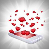 Red hearts fly out of the smartphone. Computer technology concept on Valentine's Day poster