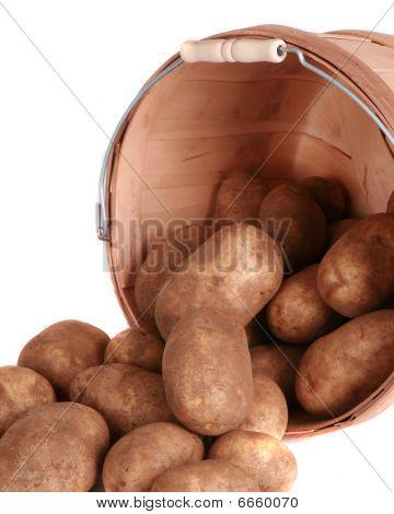Bushel Of Potatoes Isolated On White