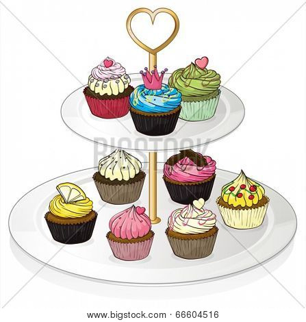 Illustration of a tray with cupcakes on a white background