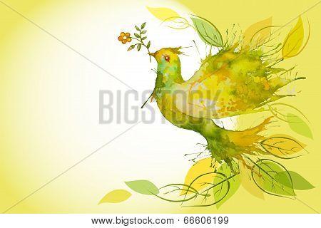 Flying Green Dove  - Horizontal Background