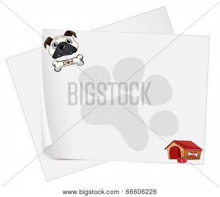 Illustration of the empty papers with a dog on a white background