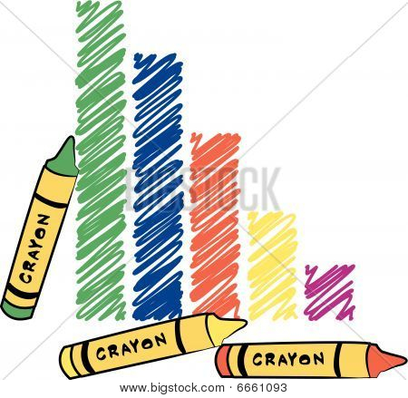 Bar Graph With Crayon Scribble.