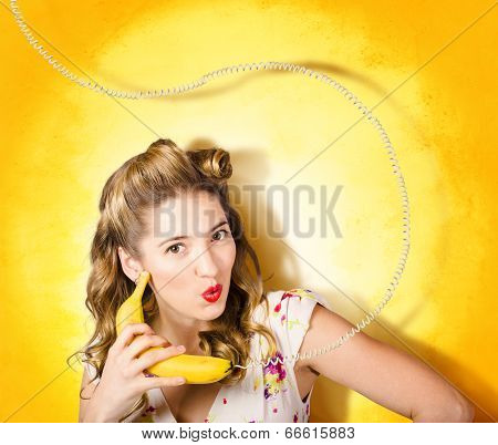 Gossiping Retro Pin Up Girl On Fruit Phone