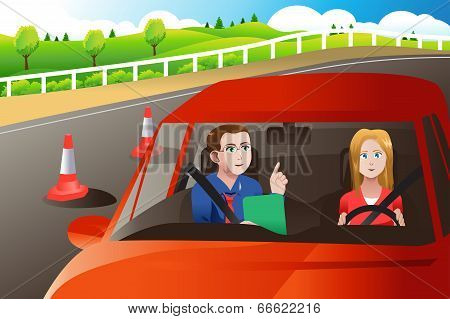 Teenager In A Road Driving Test